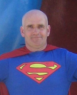 Bald superman mug shot
