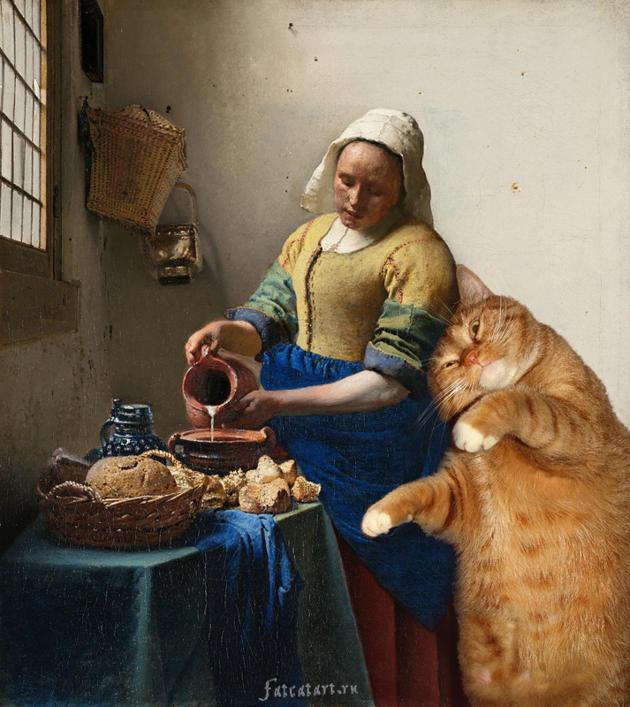 Vermeer the milkmaid cat