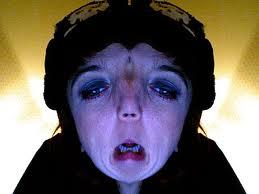 Weird woman with unhappy face