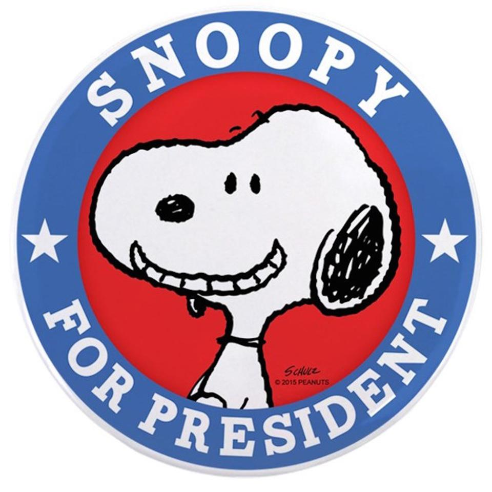 Snoopy for president peanuts button 11